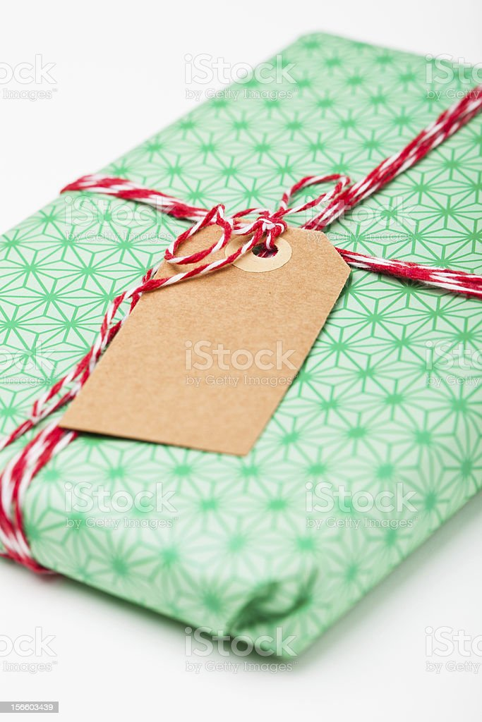 Simple gift with tag royalty-free stock photo