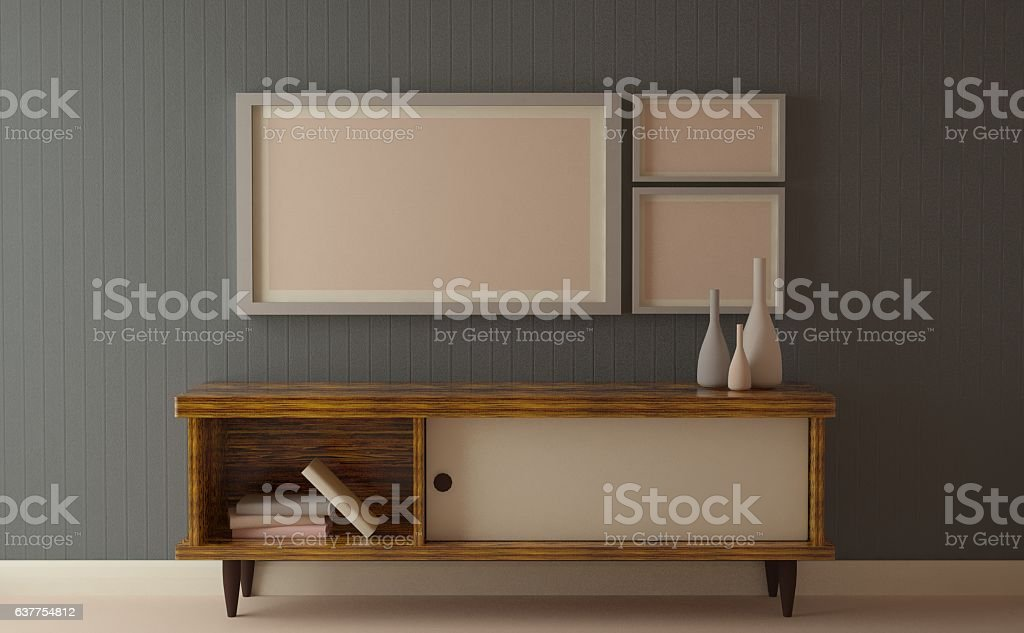 Simple gray walls with furniture for Mock up stock photo