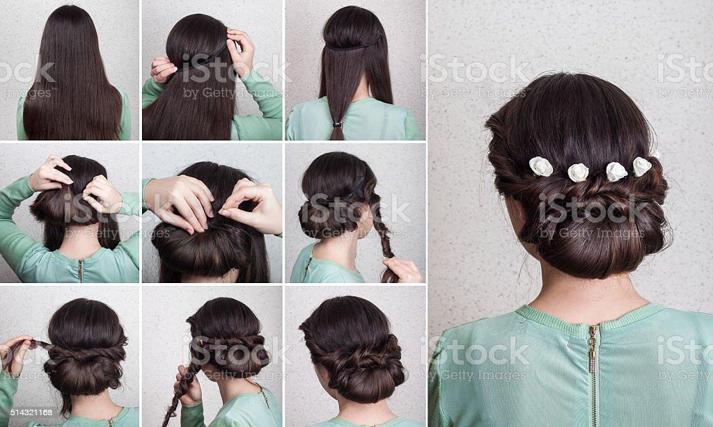 Simple hairdo self tutorial stock photo
