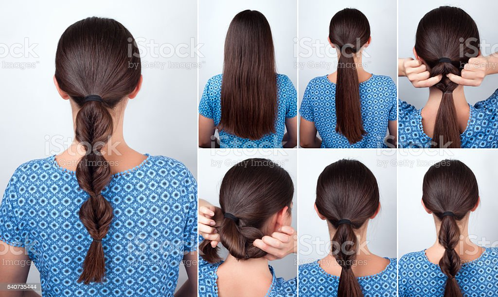 simple hairstyle tutorial for long hair stock photo