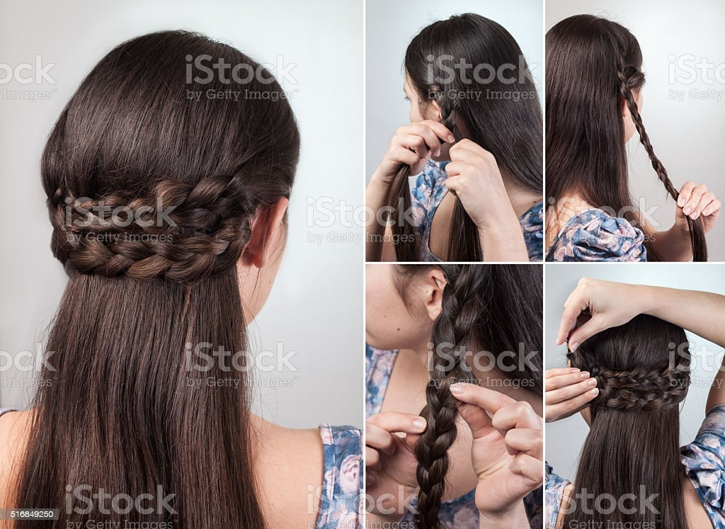 simple hairstyle tutorial stock photo
