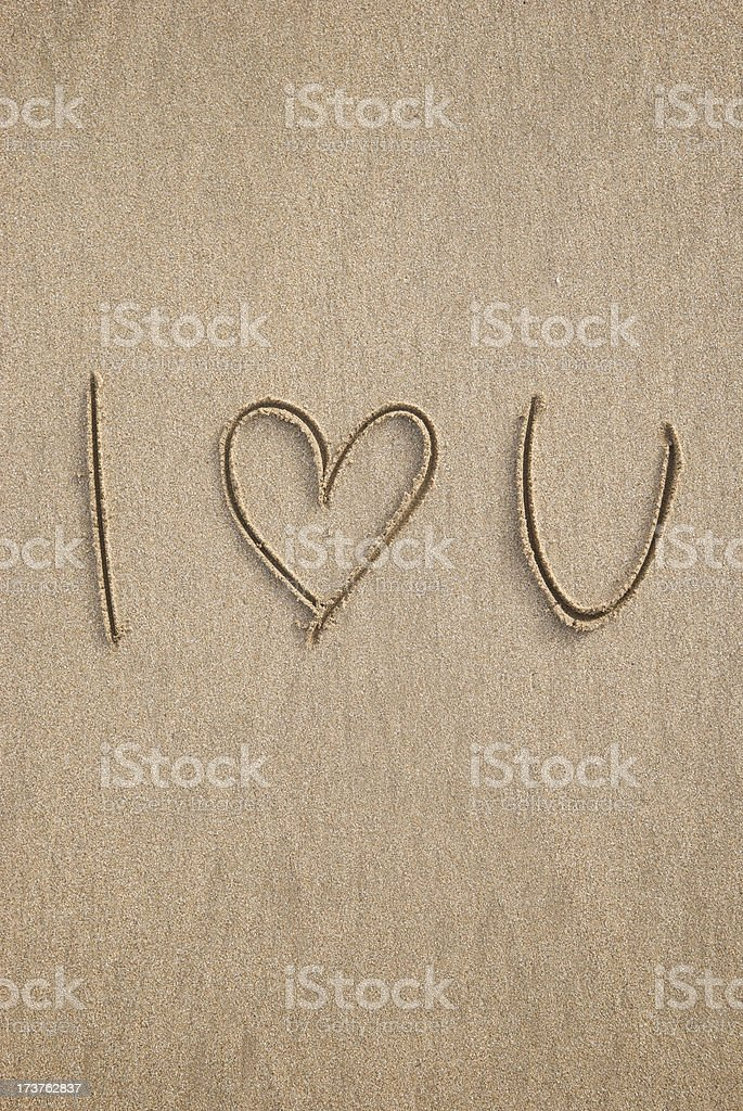 Simple Handwritten I Love You Message Heart in Sand royalty-free stock photo