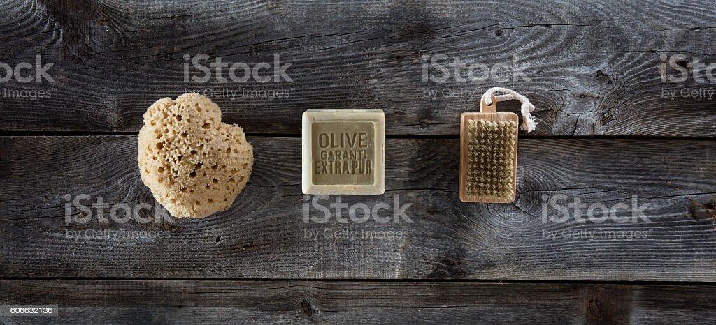 simple healthcare concept with symbol of pure, zen healthcare accessories stock photo