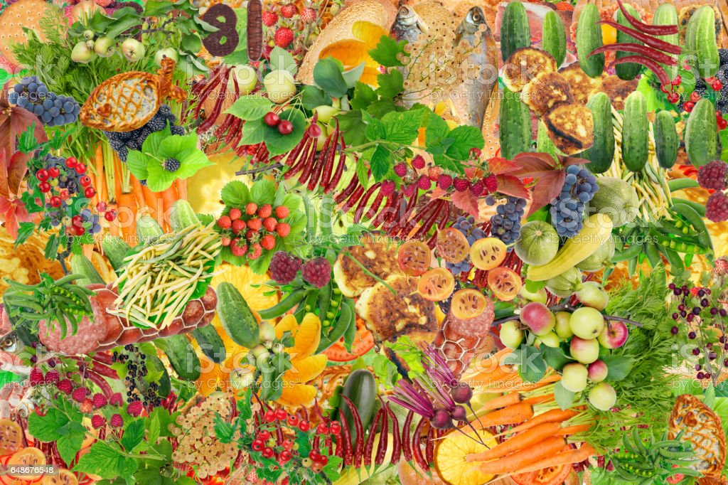 Simple healthy fresh food - fruits,  vegetables, pastries and meat background. Abstract handmade collage stock photo
