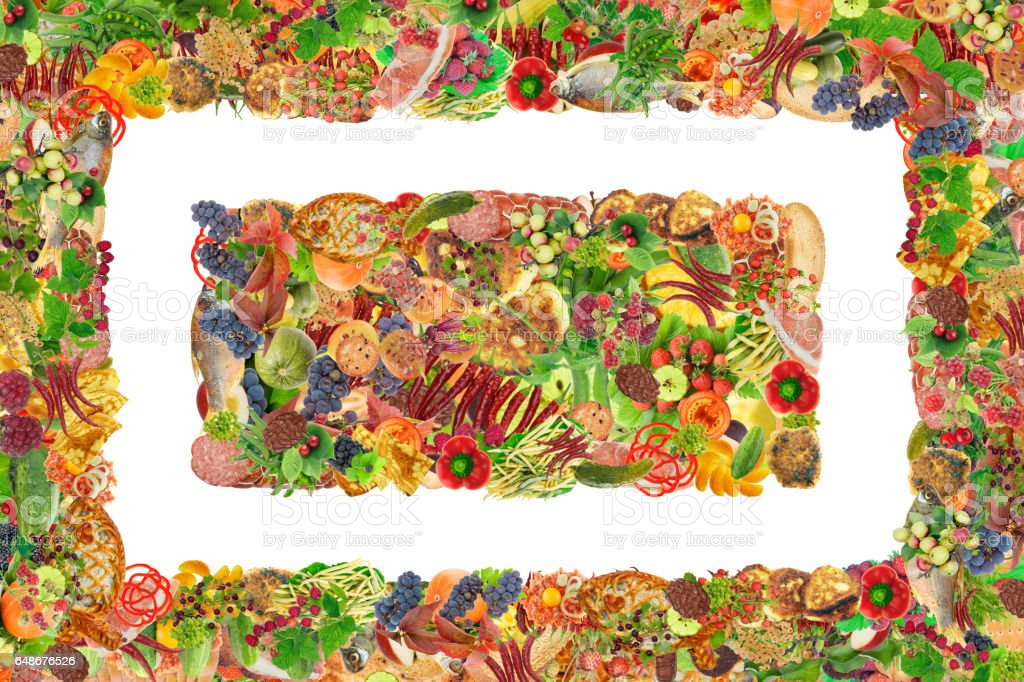 Simple healthy fresh food - fruits,  vegetables, pastries and meatframe and banner. Abstract isolated  handmade collages stock photo