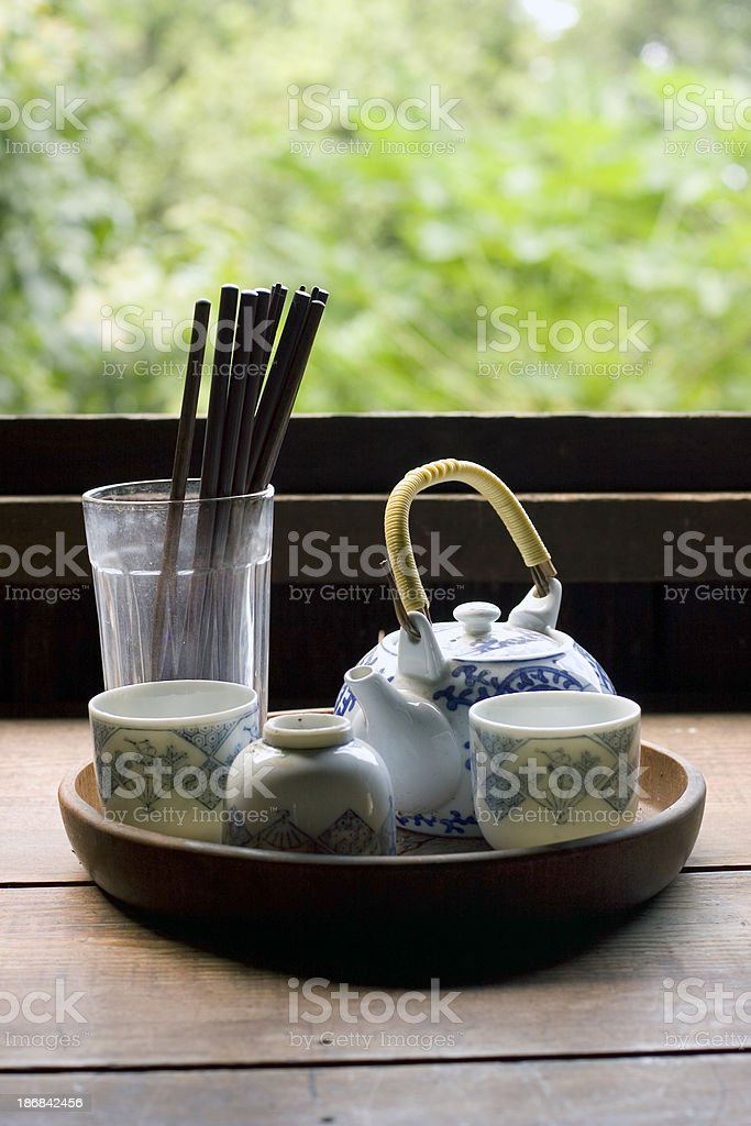 Simple Japanese tea set and chopsticks royalty-free stock photo