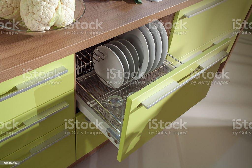 simple kitchen furniture macro photo stock photo