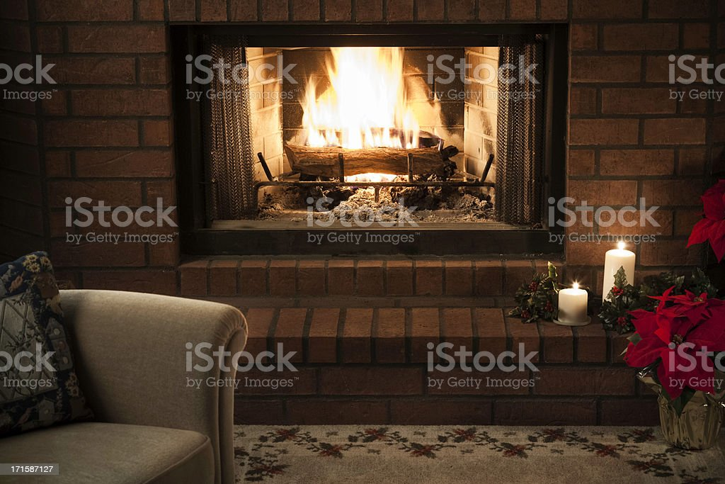 simple livingroom Christmas Fireplace scene stock photo