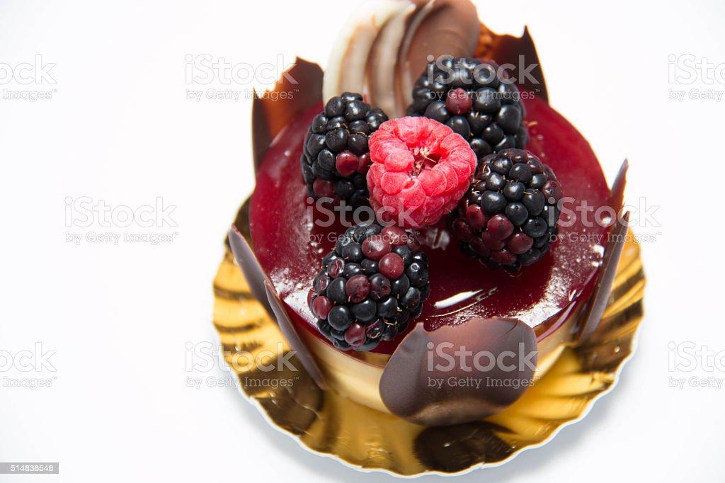 Simple mascarpone cheesecake with winter berry stock photo
