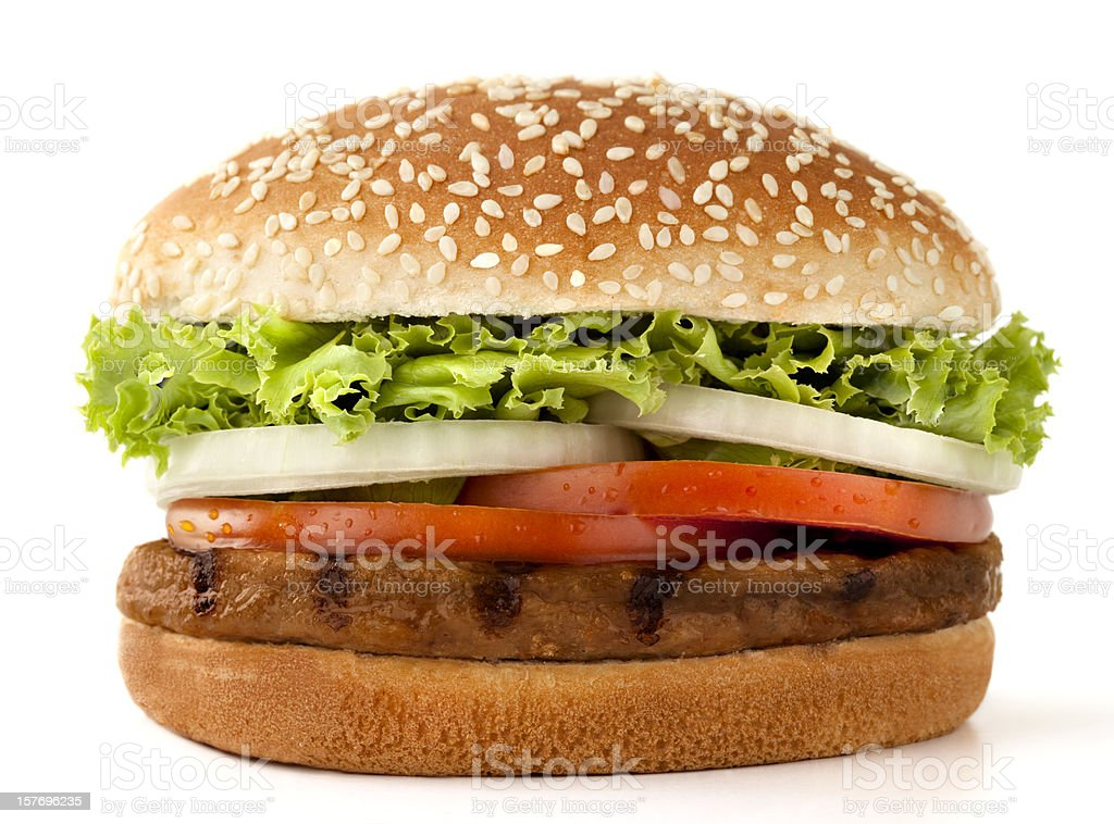 Simple meat burger isolated on white royalty-free stock photo