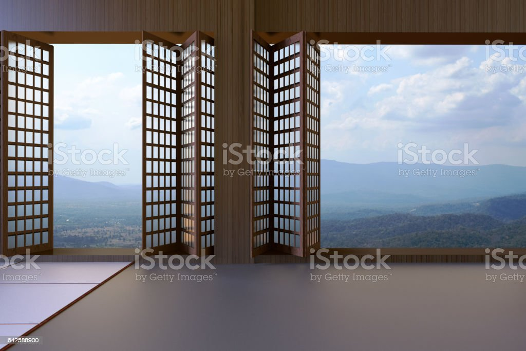 Simple Modern Japanese living room Clean window and views stock photo