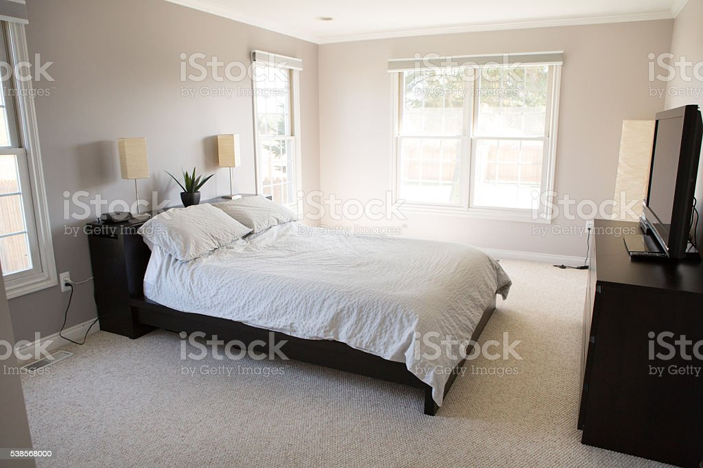 Simple Modern Master Bedroom, Home Decor stock photo