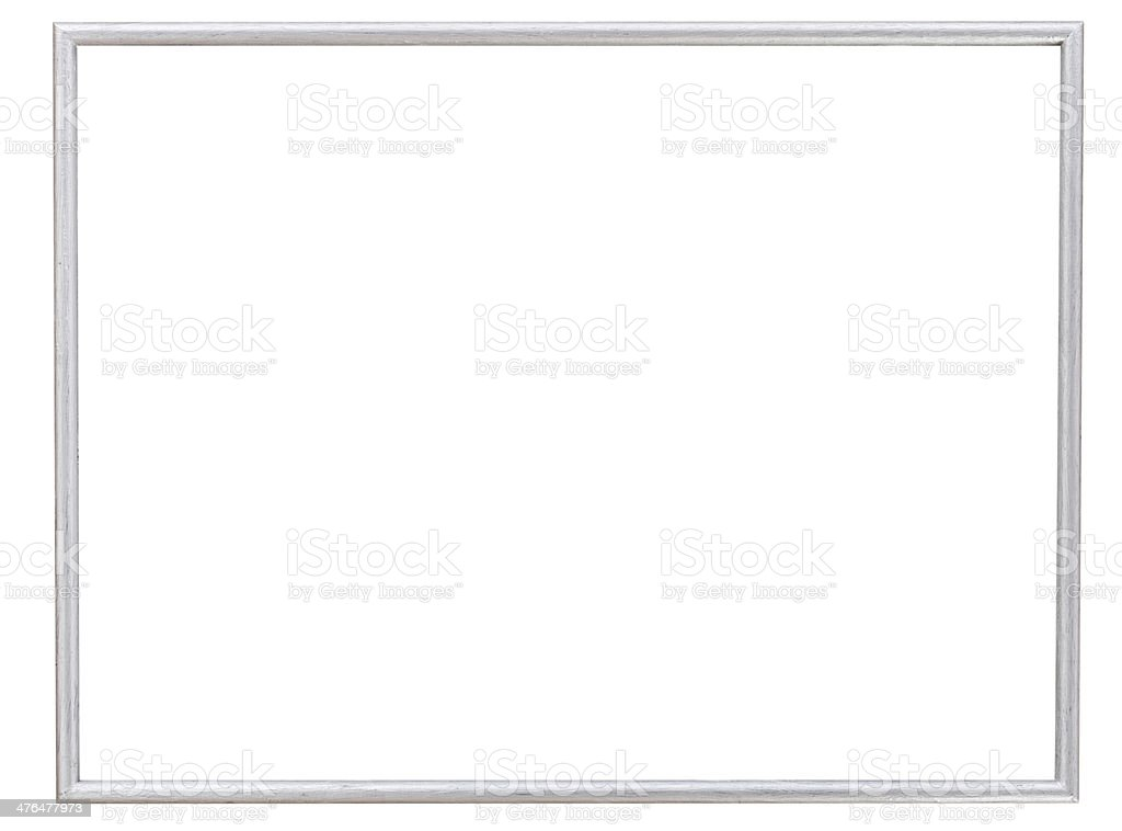 simple modern silver narrow picture frame stock photo