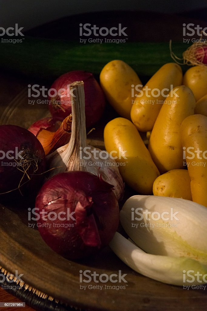 Simple natural organic food. Vegetables, butter, cheese. stock photo