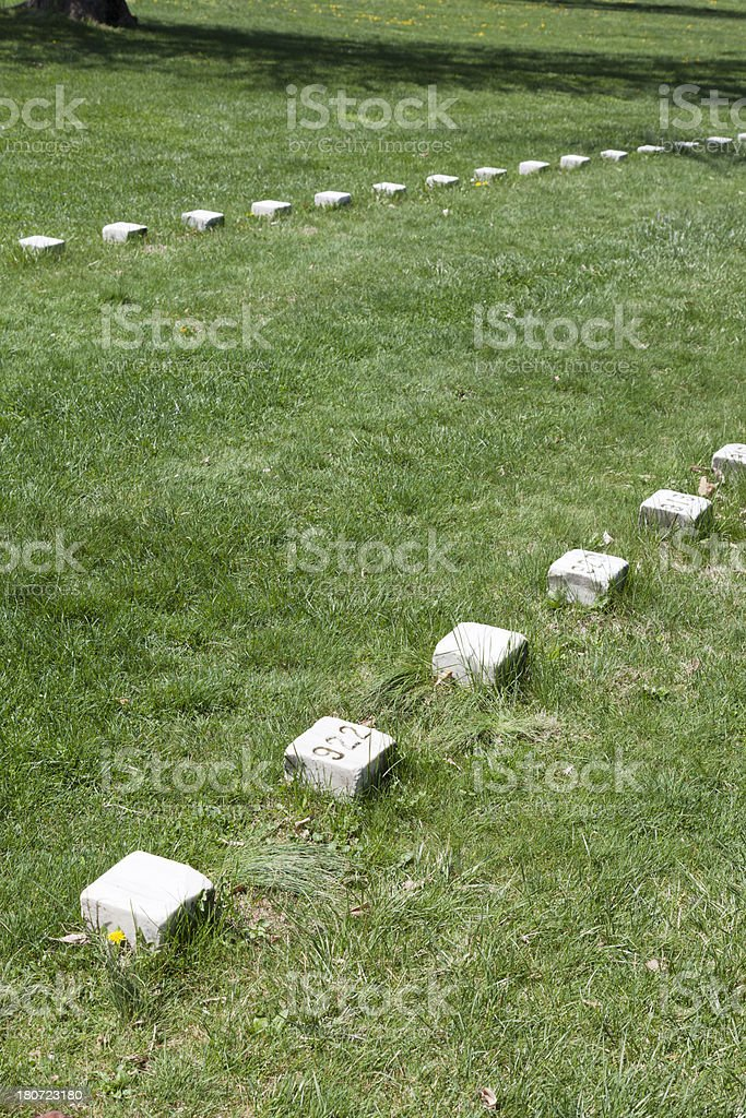 Simple Numbered Graves at Gettysburg - Background royalty-free stock photo