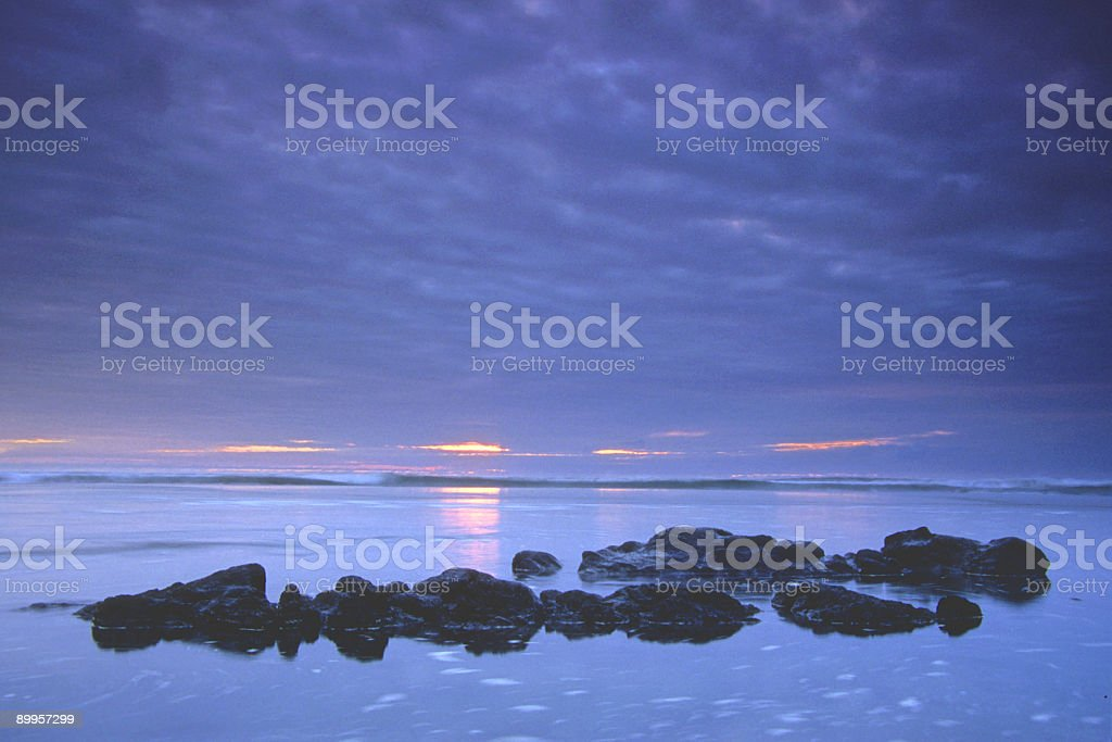 simple ocean sunset stock photo