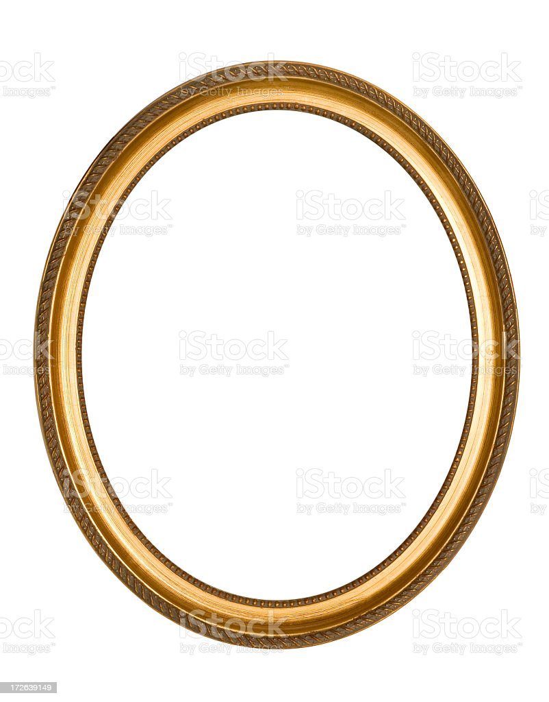 Simple Oval Gold Frame Isolated on White stock photo