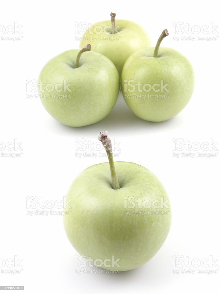 A simple picture of some ripe, light green apples stock photo