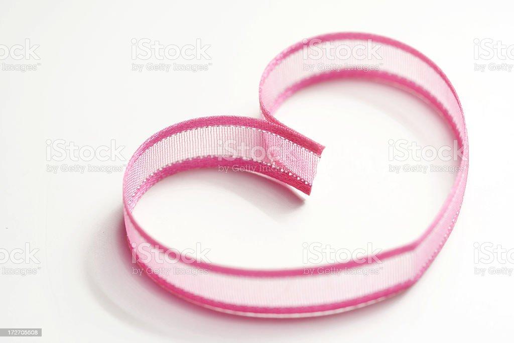 simple pink heart shaped ribbon royalty-free stock photo