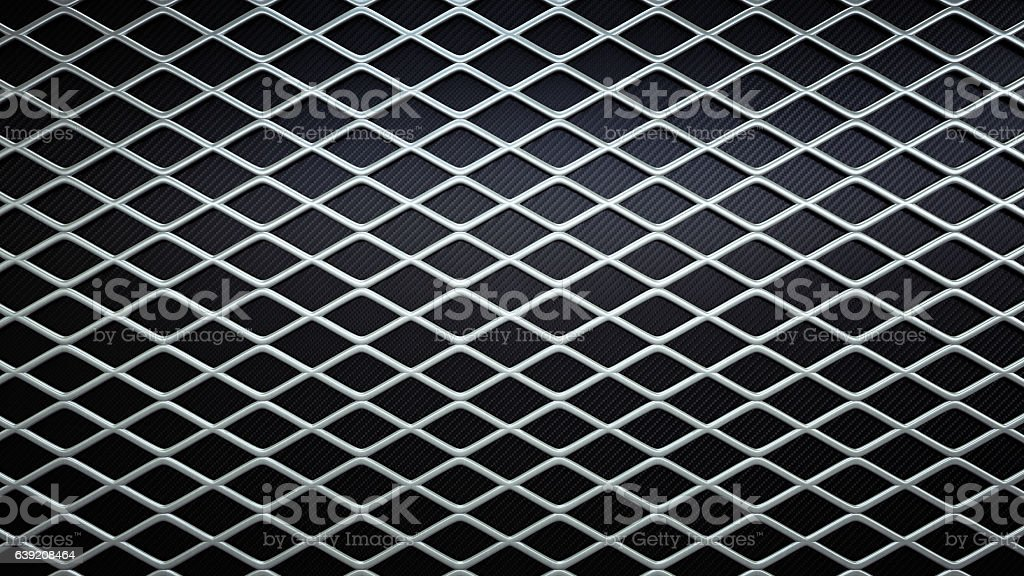 Simple Rhomboid Railing On A Dark Surface stock photo