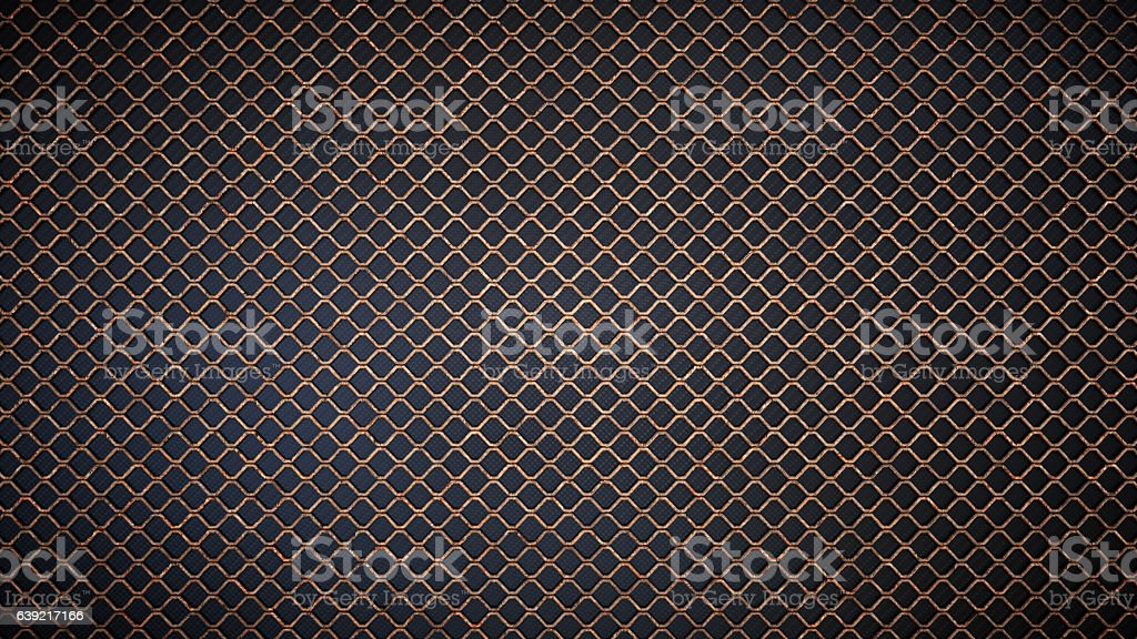 Simple Rusty Fence Isolated on Black stock photo
