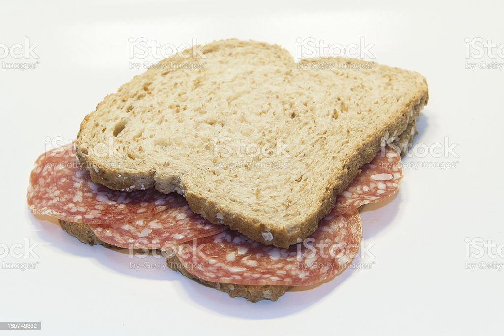 Simple salami sandwich no frills royalty-free stock photo