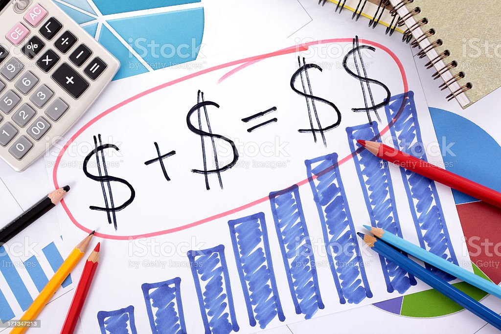 Simple savings or retirement formula stock photo