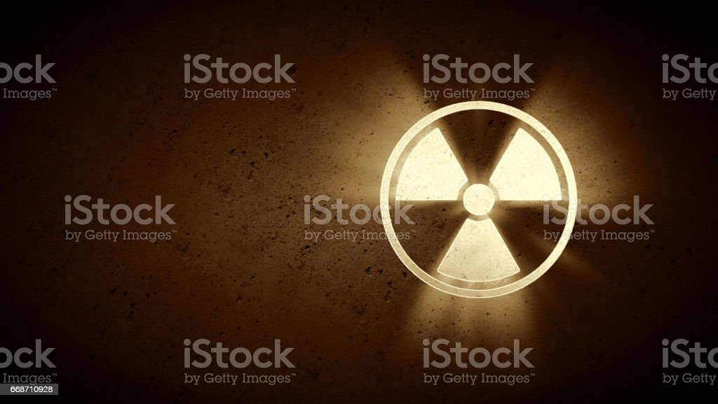 Simple Sepia Radiation Warning stock photo