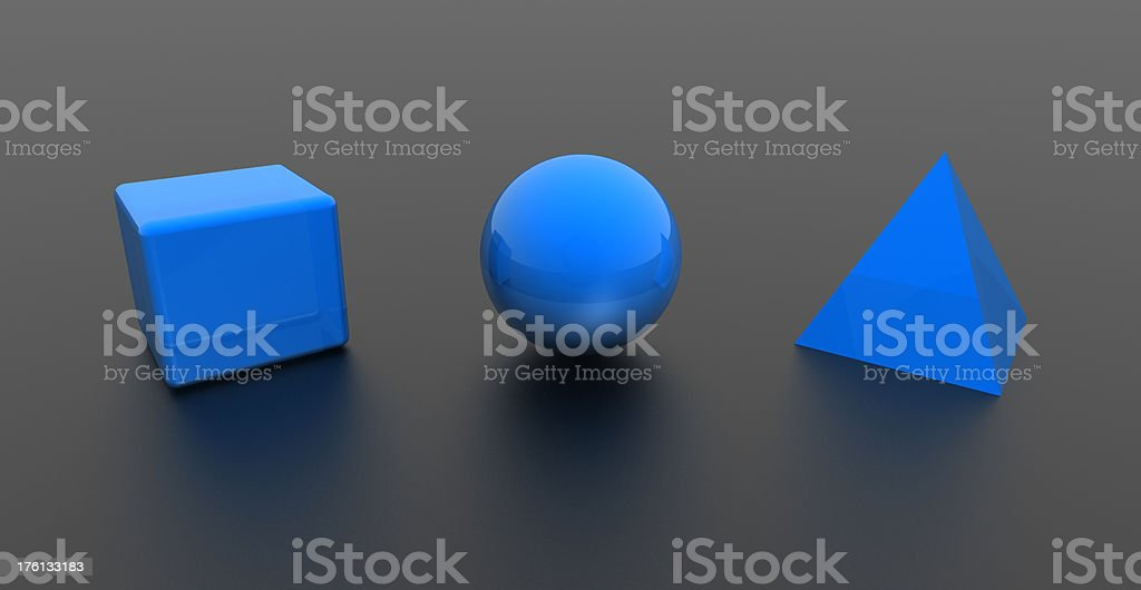 3D simple shapes royalty-free stock photo