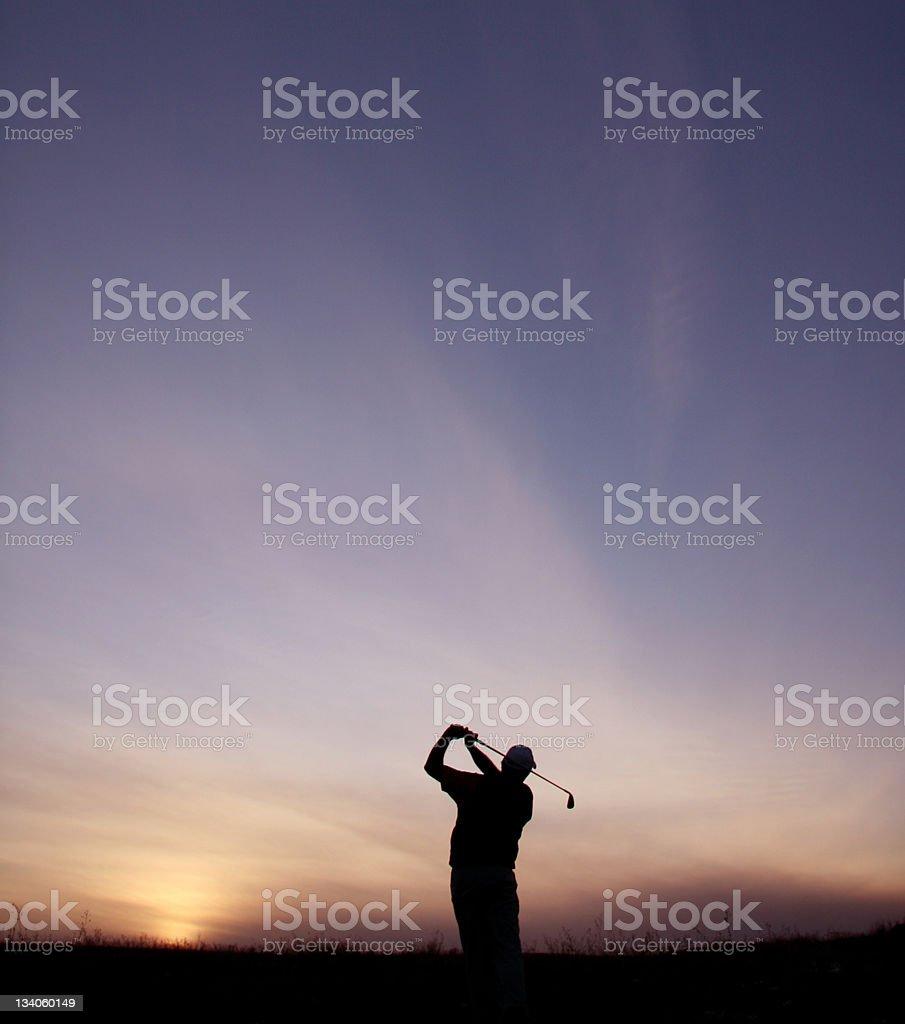 Simple Silhouette of Senior Golfer stock photo