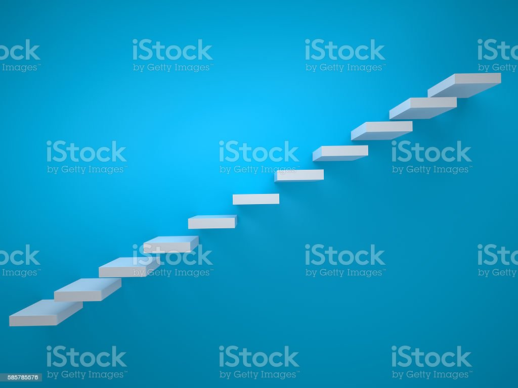 Simple stair icon on blue background stock photo