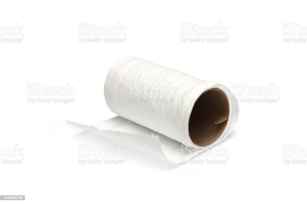 Simple toilet paper on white background stock photo