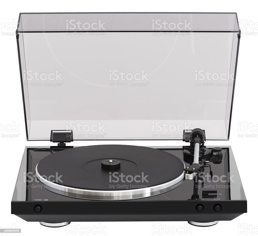 Simple Turntable Isolated on White Background stock photo