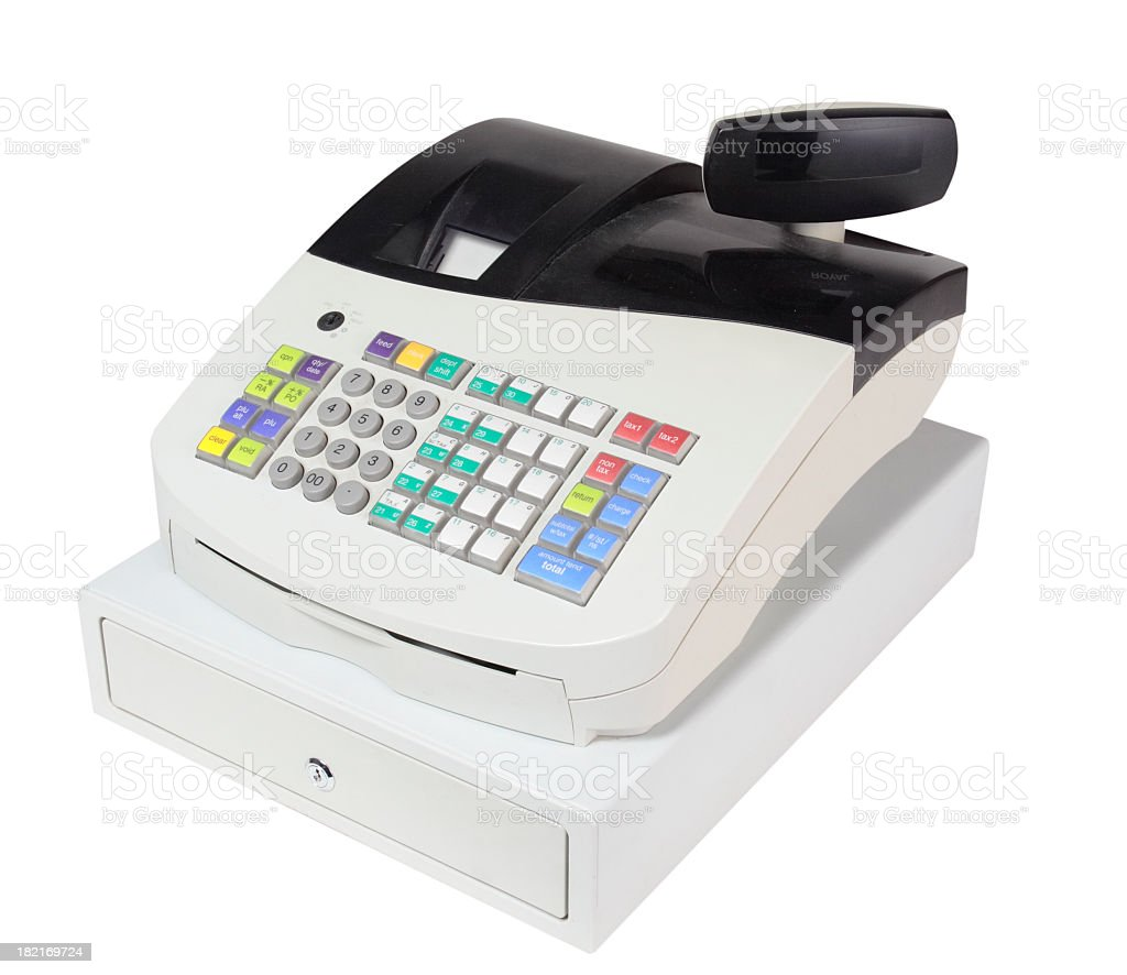 Simple white cash register with clipping path  stock photo