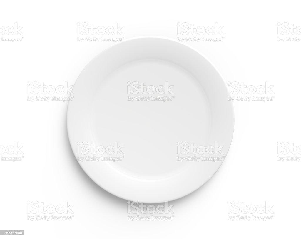 Simple white circular porcelain plate stock photo
