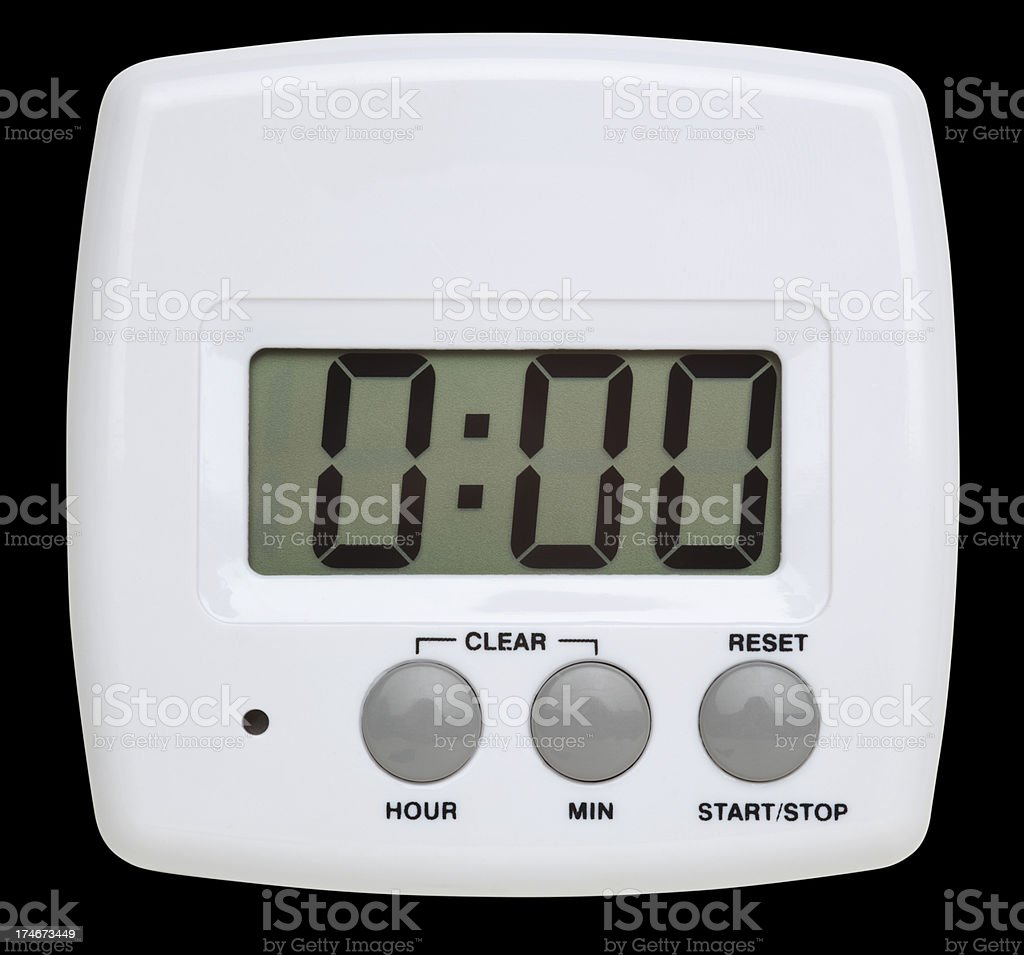 Simple White Digital Timer With Clipping Path royalty-free stock photo