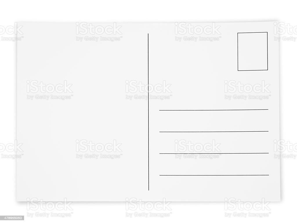 Simple White Postcard (with path) stock photo