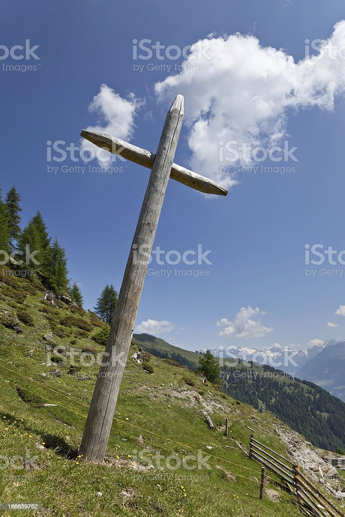 Simple wodden cross, South Tyrol royalty-free stock photo