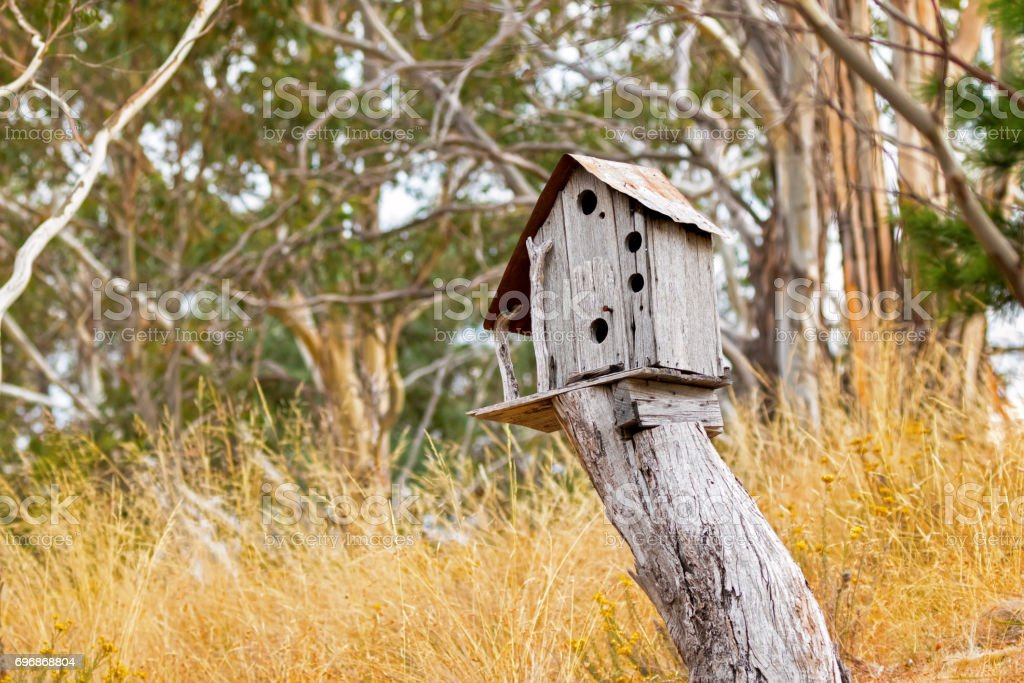 Simple wooden bird house on top of tree stump surrounded with yellow grass meadow field stock photo