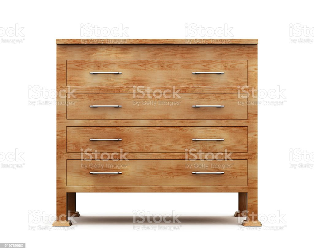 Simple wooden chest of drawers isolated on white background. 3d stock photo