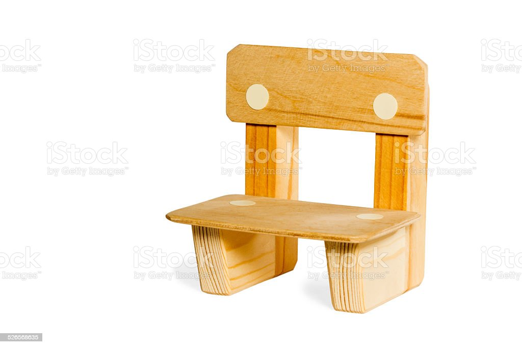 Simple wooden kid chair stock photo