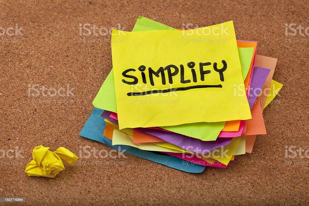 simplify reminder stock photo