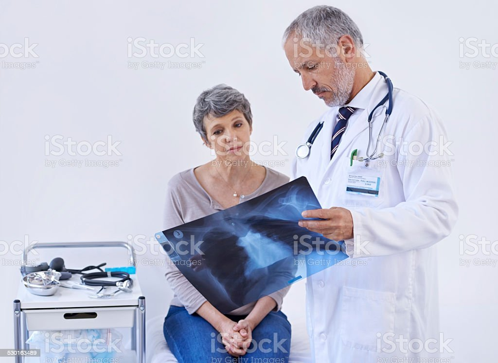 Simplifying the x-ray so she can understand stock photo