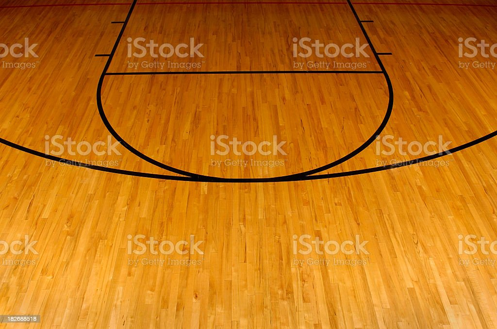 Simplistic aerial view of a basketball court stock photo