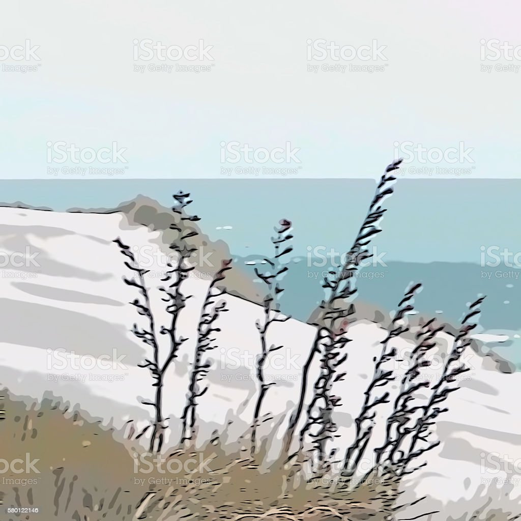 Simplistic Seascape - Illustration stock photo