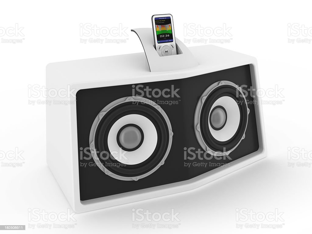 A simplistic white sound system stock photo