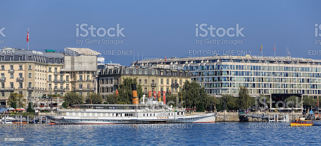 MS Simplon on Lake Geneva stock photo