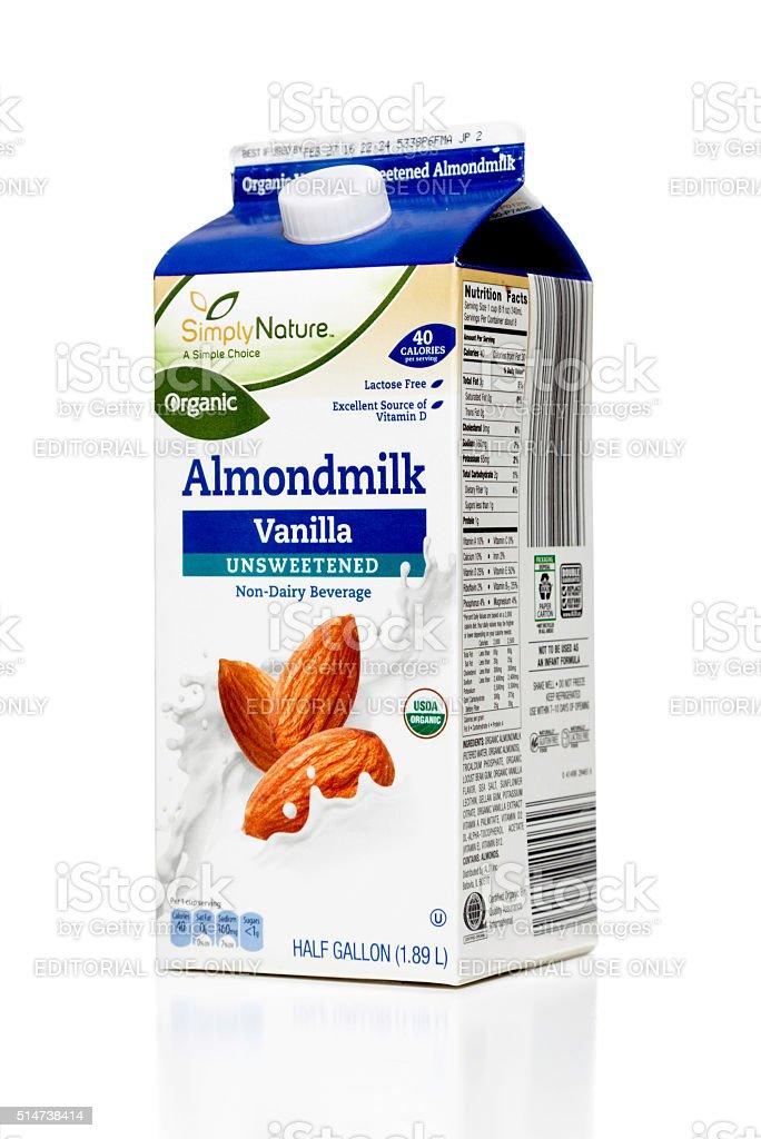 Simply Nature Organic Almondmilk Vanilla Unsweetened carton stock photo