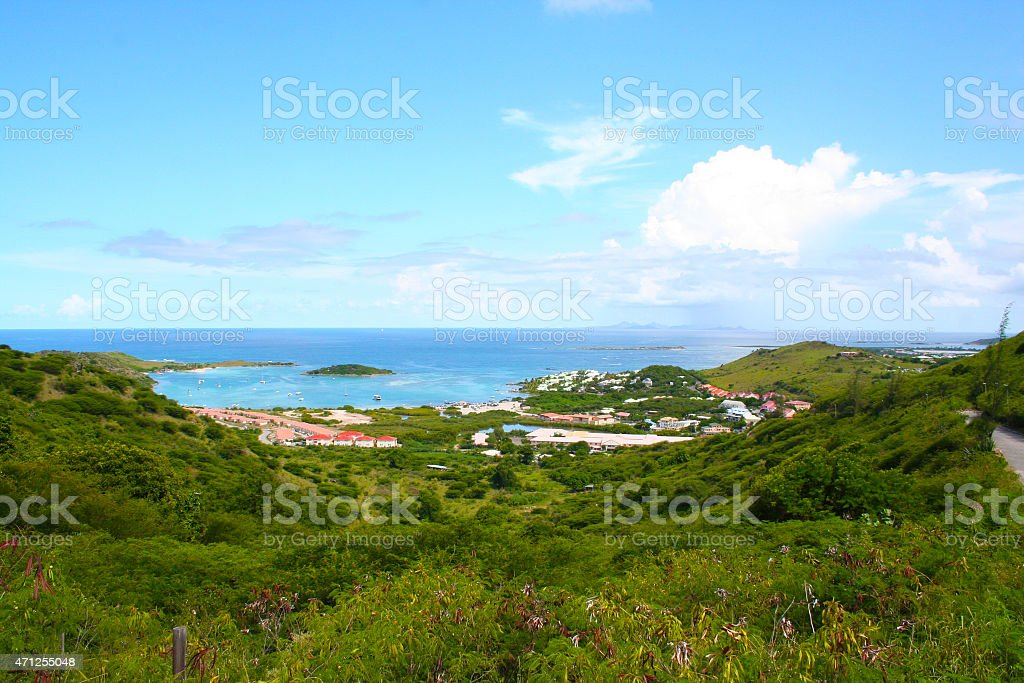 Simpson Bary harbor on St. Martin stock photo