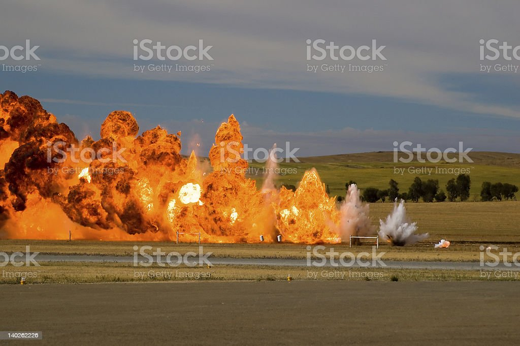 Simulated Air Strike stock photo